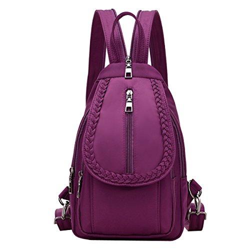 LAIDAYE Kleine Brusttasche Dame Messenger Mini Schulter Korean Modischen Wilden Cowboy Tuch Leinwand Schulter Brust Rucksack,Purple-OneSize