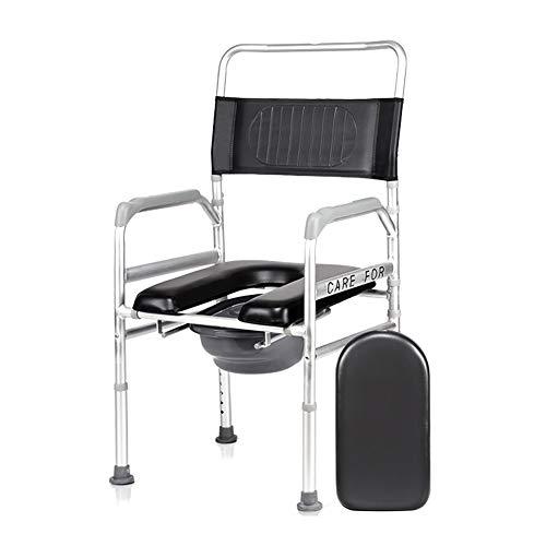 ZBYL Faltbare Tragbare Aluminium Kommode Am Bett, HöHenverstellbarer Duschstuhl Mit Toilettensitz, FüR äLtere Menschen Mit Behinderungen Schwangere (Rezepte Schwangere)
