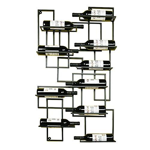 ACZZ Estantería Industrial Simple para Montaje en Pared, en Metal E Hierro, 10 Estantes para Bar de Botellas de Vino, 60X110Cm,A,Estantería de v