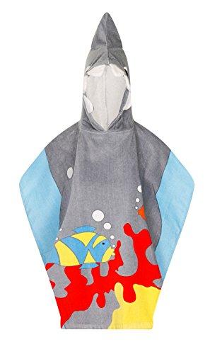 Lora Dora Kinder Badeponcho mit Kapuze - Handtuch für Strand - Fee/Pirat/Hai - Hai - Einheitsgröße (Kostüm Prinzessin Dora)