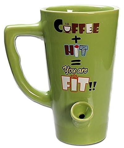 Black Leaf Becher-Bong Keramik Grün. Bong und Kaffee-Tasse