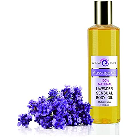 Aceite de Masaje 100% Natural - Relajación y Después del baño 200 ml - made in France (Lavanda)