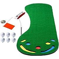 Wushuang Equipo De Práctica De Golf De Putt Práctica Profesional Putter Desafiante Largo Y Verde Cubierta De Entrenamiento De Golf para Interiores/Exteriores