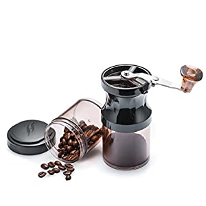 Balabella Manual Coffee Grinder with Adjustable Ceramic Burr Mill, Quiet and Portable Manual Burr Grinder, 2 Packs Stackable Storage Jars