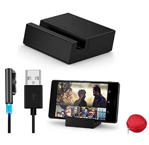 Culater® Neue Für Sony Xperia Z3 Compact magnetisch induktive Ladestation Tischplattendock + USB Ladekabel Set schwarz
