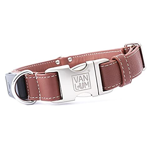 VanLum® beleuchtetes Hundehalsband mit LED, Echtleder, aufladbar Mini-USB in Braun, LED Rot XL (50-55cm)