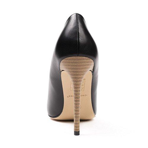 Ideal Shoes - Escarpins à bout pointu en similicuir Jelila Noir