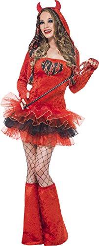 Smiffys, Damen Teufel Kostüm, Tutu-Kleid mit abnehmbaren Trägern, Kapuzenjacke mit Hörnern und Überstiefel, Größe: M, 41019