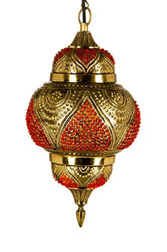Orientalische Messing Lampe Pendelleuchte Gold Abidah 38cm E27 Lampenfassung | Marokkanische Design Hängeleuchte Leuchte | Orient Lampen für Wohnzimmer, Küche oder Hängend über den Esstisch