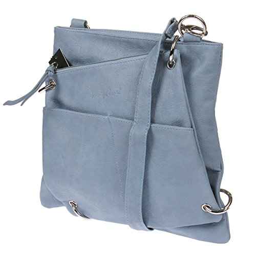 3900 Jennifer Jones Damen Umhängetasche Handtasche Schultertasche Shopper 2 in 1 Hellblau