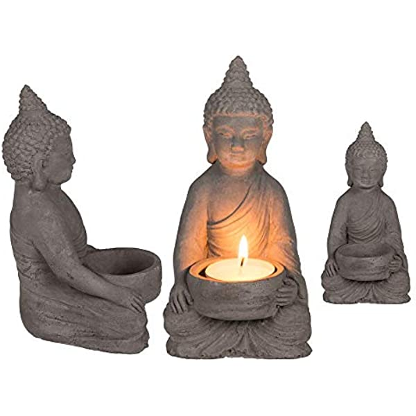 c/ément ootb 190139 Bougeoir Bouddha 8 x 15,5 cm Gris