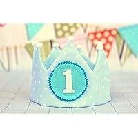 Corona de bebé para cumpleaños infantil, corona príncipe, corona azul.