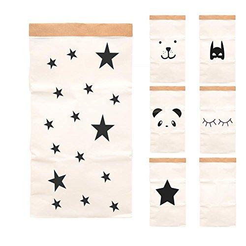 Paper-Bags zur Aufbewahrung von Spielzeug, Wäsche und weiteren Krimskrams - Beutel / Sack aus Papier - Papiertasche Motiv Sterne