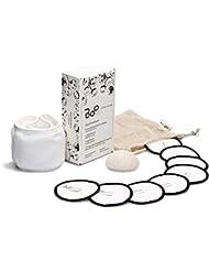 B88 Abschminkset 11 St. | 100% 8 Bio Waschbare Baumwolle Abschminkpads Ø 8 cm | 100% 1 Baumwolle Kopfband | 1 Konjac Gesichtspeeling-Schwamm | 1 Baumwolle Wäschenetz ♻️
