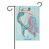 YATELI House Yard Flag 12x18 inch Double Sided Garden Flag with Mermaid Printed for Christmas Decorative
