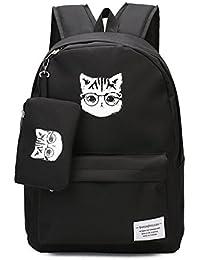 YQWEL Cute Cat Backpack Cartoon Animal School Bag College Book Bag (Black)