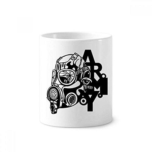 diythinker Luftverschmutzung Gas Maske Armee Silhouette Keramik Zahnbürste Stifthalter Becher weiß Tasse 350ml Geschenk 9,6cm hoch x 8,2cm Durchmesser (Arm-silhouette)