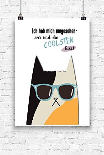Print Wandbild Poster Bild Wanddeko Cat-Katze- Wir sind die Coolsten hierA4