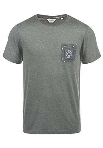 !Solid Ilari Herren T-Shirt Kurzarm Shirt Mit Rundhalsausschnitt Aus 100% Baumwolle, Größe:XL, Farbe:Grey Melange (8236) - Gestickte Grafik Tee