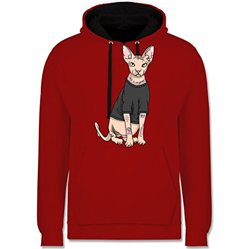 Katzen - Tattoo Sphynx-Katze - Kontrast Hoodie Rot/Schwarz
