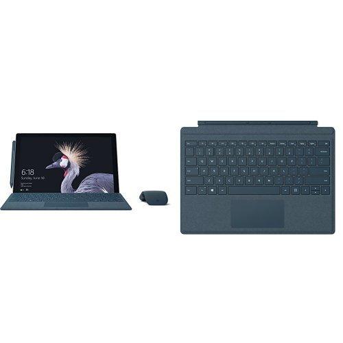 Set aus Microsoft Surface Pro (12,3 Zoll) (Intel Core m3 der 7. Gen., 4 GB RAM, 128 GB SSD) silber, ohne Stift + Surface Pro Type Cover kobalt blau