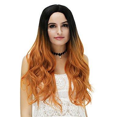 haar Perücke blond lang blau braun rose/grün silber pink gewellt Ombre Haar mittleren Teil Party Kostüm Perücken für Halloween (Dallas Halloween-kostüme)