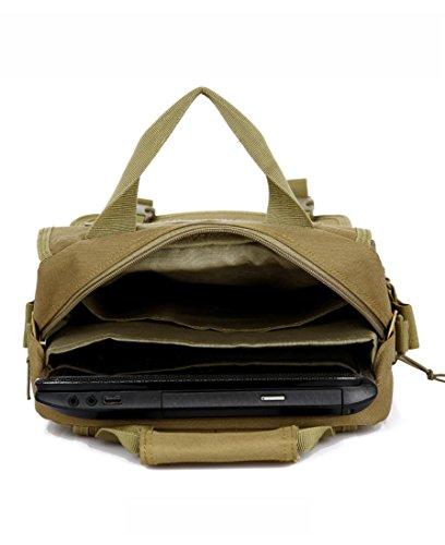 Tarnung beiläufige Schulterbeutel / Camouflage 14-Zoll-Laptop-Tasche / Beutel praktische taktischer militärischer Angriff Moller Wandern Wanderrucksack Tragetasche Khaki
