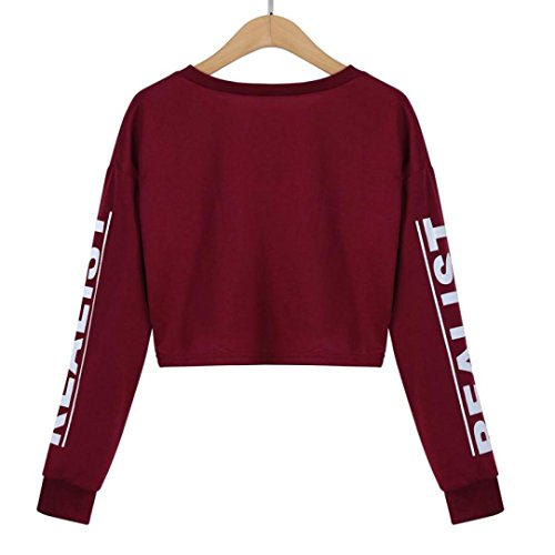 AIMEE7 Femmes Mode Coton Blanc Lettre Imprimé Crop Sweatshirt Top Blouse Bourgogne