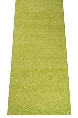 Velours Teppich Läufer Trend Grün nach Maß - versandkostenfrei schadstoffgeprüft pflegeleicht antistatisch schmutzabweisend robust strapazierfähig Flur Diele Treppenhaus Eingang Wohnzimmer Küche Büro