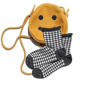 CXKWZ Damensocken Art- Und Weisegitter-Plaid-Baumwollfrauen-Socken Art- Und Weisedame Style Cute Checked Grid Socks Frühlings-Herbst-Winter-Reizende Farben-Socken