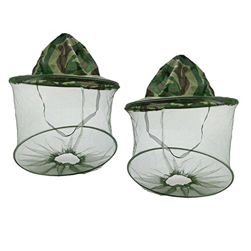 2pcs Camouflage Beekeeping Beekeeper Anti-mosquito Bee Bug Insect Fly Mask Cap Hat with Head Net Mesh Face Protection Outdoor Fishing Equipment