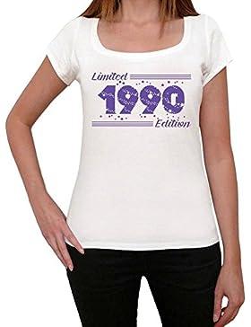 1990 Limited Edition Star Mujer Camiseta Blanco Regalo De Cumpleaños