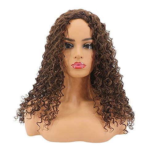 Rifuli® echthaar perücke Hort Afro Curly Mix Haar Perücke mit Pony synthetische neue Ankunft billige Perücken Styling Lange Haare ()
