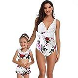 LSAltd Damen Mädchen Sommer Mode Blumendruck Badebekleidung Mutter Sleeveless Bowknot Badeanzug Tochter T-Shirt + Kurze Hosen Badeanzug Familie Passende Badeanzug Kleidung