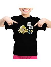 T-shirt Enfant Fille Manga - Parodie Saint Seiya / Chevaliers du Zodiaque - La technique interdite: le Roupillon du Lotus !! - T-shirt Enfant Fille Noir - Haute Qualité (105)