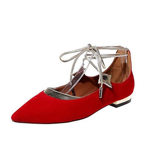 VogueZone009 Damen Spitz Zehe Schnüren Gemischte Farbe Niedriger Absatz Flache Schuhe Rot