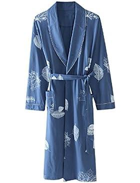 Pijama de albornoz de los hombres Algodón de manga larga sección delgada camisón/Primavera y otoño ropa de casa...
