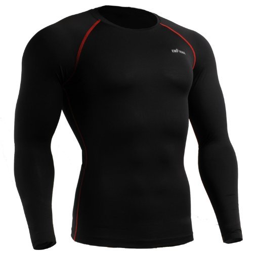 emFraa Men's Skin Tight Baselayer T Shirt Running Black Top Longsleeve