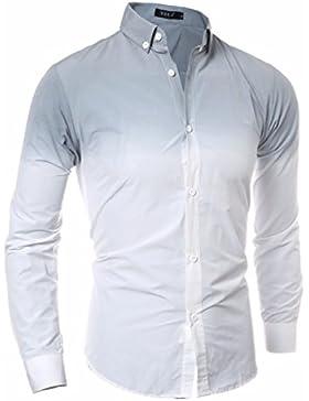 Elegante degradado tie-dye hombres otoño e invierno, camisa de manga larga