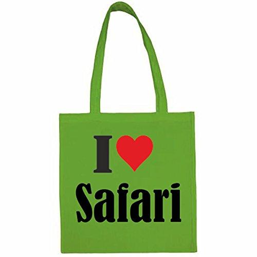 Tasche I Love Safari Größe 38x42 Farbe Grün Druck Schwarz - Safari-grün-erwachsenen-shirt