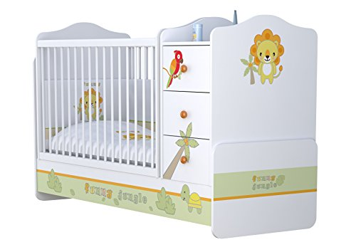 Polini Kids Kombi-Kinderbett Basic mit Kommode Jungle weißorange,1185-1