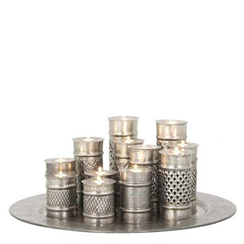 Massive luxury Candle Antique style silver Marrakech Large 70cm