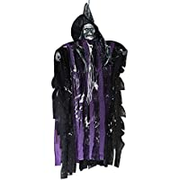YUYOUG Halloween Party Supplies Hanging Ghost Witch Light Up Eyes Scary Voice Sound Control Voice Rot Halloween Props Haunted House Indoor Outdoor Decoration (Purple)