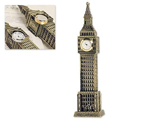 DSstyles Big Ben Tower Modelo Elizabeth Tower Metallic Statue Big Ben Figurita para Souvenirs - 23.5cm