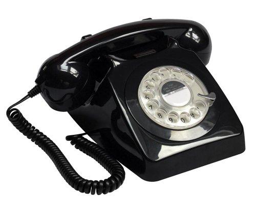 Protelx Rotary BLK - Teléfono fijo analógico, negro (importado)