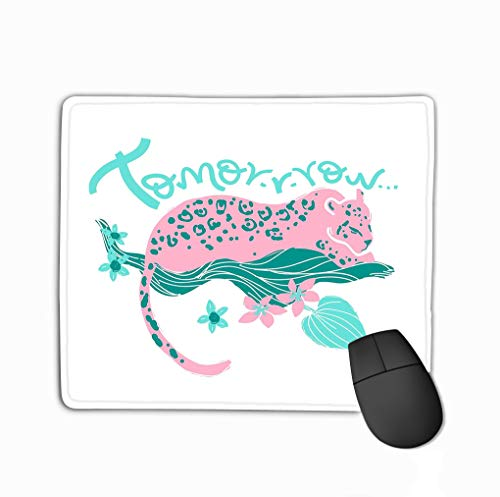 Mouse Pad Print Jaguar han Lettering Tomorrow tr Tropic wild Animal Plants Folk Naive Style Rectangle Rubber Mousepad 11.81 X 9.84 Inch