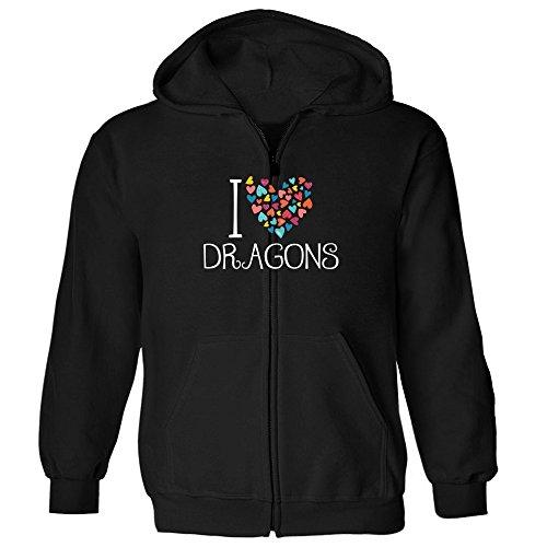 Idakoos I love Dragons colorful hearts - Monsters - Kapuzenjacke