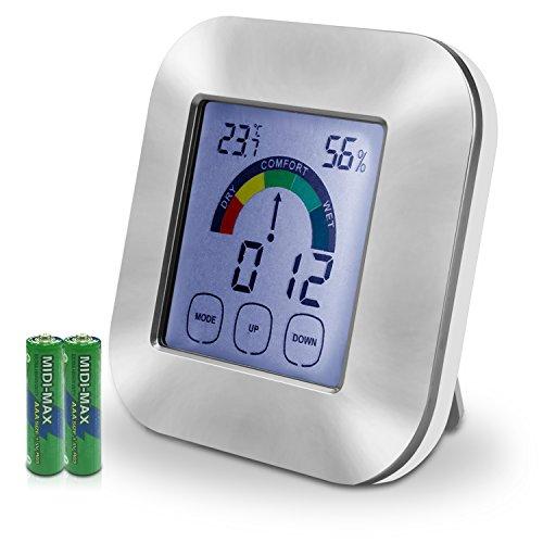 igitales Thermometer Hygrometer - XREXS 3 in 1 Multifunktion Digital Thermometer Feuchtigkeitsmesser mit Hintergrundbeleuchtetem Display Innenthermometer Feuchtigkeitsmonitor Elektronische Uhr mit lautem Alarm für Home Office Warehouse Weinkeller (Batterien Inklusive) (Indoor-office-thermometer)