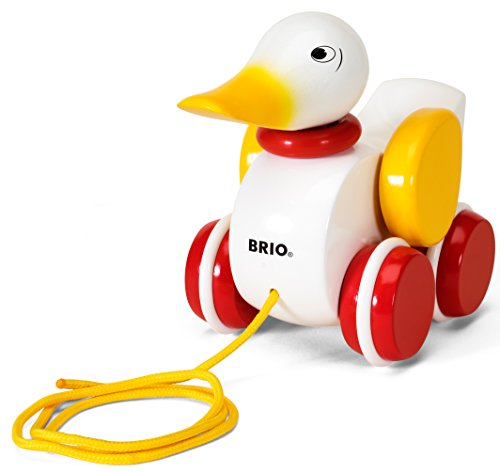 BRIO Infant & Toddler - Pull-along Duck - White, Essential baby toys, toys for every developmental stage, baby toys, must have baby toys, the best toys for babies, gift ideas for babies, Christmas baby gift ideas, gifts for babies