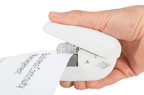 Wedo 1272000 Klammerloser Hefter Mini (bis zu 5 Blatt Papier - ohne Heftklammern) weiß - 2